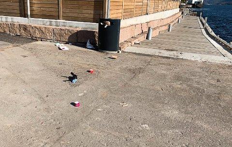 Slik så det ut i og rundt den ene søppeldunken ved gjestebrygga i helgen.