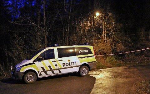 I SKOGEN: Ifølge politiet skal hendelsen ha skjedd på en skogssti. Politifolk var ute og undersøkte området torsdag kveld.