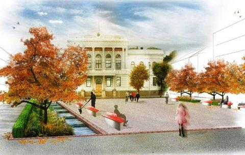 EN MULIG FRAMTID: Slik kan rådhusplassen i Skien bli, viser et tidligere prosjekt. En politiker vil ha ny prosess som går på utvikling av denne plassen.