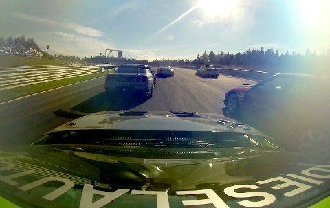 FART: En bane for fart. Dette bildet tok den aktive kjøreren Andreas Vaa på Notodden med et kamera på taket av bilen sin på Rudskogen i 2013. (Illustrasjonsfoto)