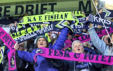 Mobiliserer: Rita Olsen (i midten) og supporterne i Uglan mobiliserer før møtet med Lillestrøm neste helg. Målet er å samle minst 500 tilskuere bak det ene målet på Åråsen for å gi KBK verdifull støtte i kampen om medalje i Eliteserien. Foto: NTB