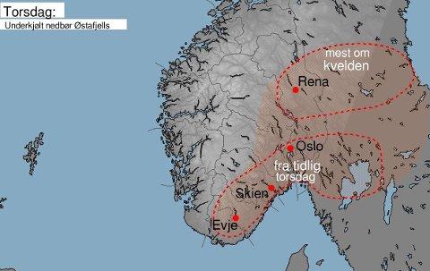 GLATT: Meteorologene advarer mot underkjølt regn i store deler av Østlandet torsdag.