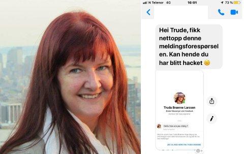 """FIKK MELDING AV """"TRUDA"""": Det var slik Trude Brænne Larssen oppdaget den falske profilen."""