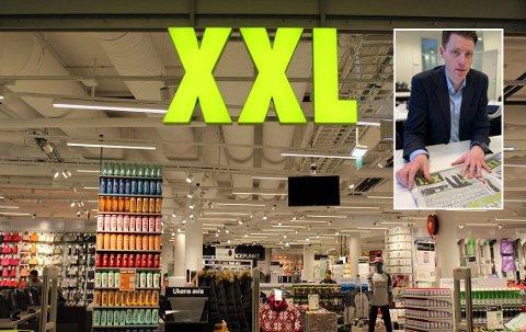 Nyansatt konsernsjef Tolle Gøterud (innfelt) i XXL kan glede seg over større vekst enn hovedkonkurrenten G-Sport i 2018.