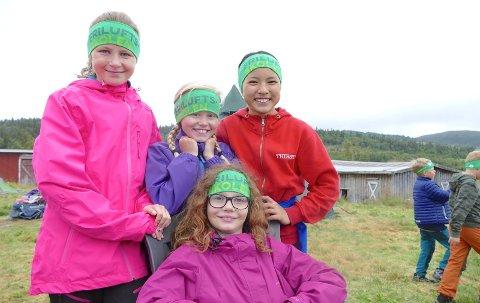 Emma, Marie, Pinky og Ingrid er klare for tre dager med friluftsliv i Etnedal og håper Friluftsskolen har kommet for å bli.