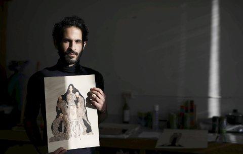 Lysere til sinns: Den første utstillingen Imad Alwahibi hadde i Kunstparken for halvannet år siden, bar preg av sterk symbolikk om regimet i Syria. Nå har Imad hentet inn sine norske opplevelser i tegningene, men streken er fortsatt like sterk.foto: Stig Sandmo