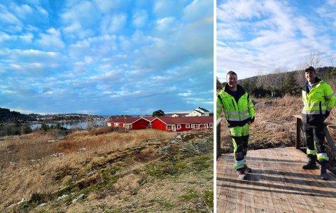 NY PARK: Ola Hellerdal Garthe (t.v.) og Pål Hødnebø ved Garthe Grøntanlegg AS på befaring ved det som skal bli en stor og flott park for alle aldersgrupper.