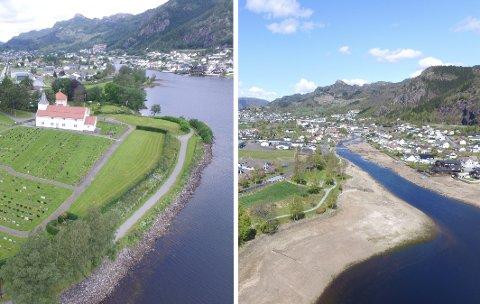 SE FORSKJELLEN: Bildet til venstre viser Lundevatnet ved normal vannstand. Til høyre ser man hvordan vannstanden var på det laveste i forrige uke.