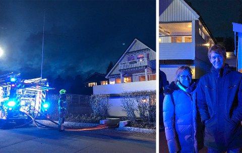 IMPONERT: Brannvesenet rykket ut til en enebolig som er del av en kjede på tre. Naboene i den ene av boligene, Kristin Marsteintredet og Tore Erstad, er imponert over innsatsen til nødetatene. Sveip for flere bilder