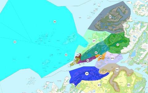 Slik er den nye soneinndeligen for eiendomsskatt i Bodø kommune.