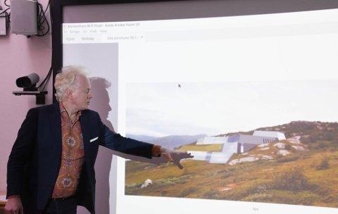 SPA: Jan Sortland presenterte hotellplanene på Årøya. Her viser han en skisse som viser spa-anlegget som er tenkt.