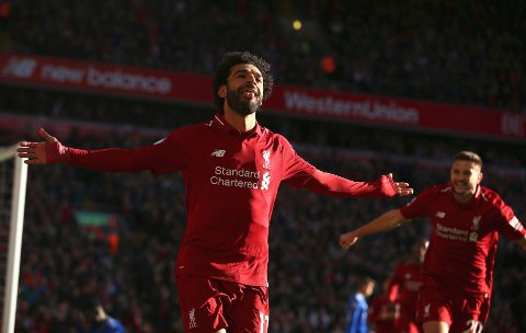 Mohamed Salah er toppscorer hos Liverpool med tolv mål. Han har scoret seks mål på Anfield og seks mål på bortebane.  (Dave Thompson/PA via AP)