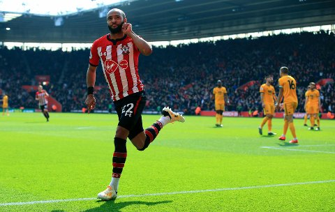 Southampton's Nathan Redmond celebrates scoring his side's second goal of the game, during the English Premier League soccer match between Southampton and Wolverhampton Wanderers,  at St Mary's Stadium, in Southampton, England, Saturday April 13, 2019. (Mark Kerton/PA via AP)