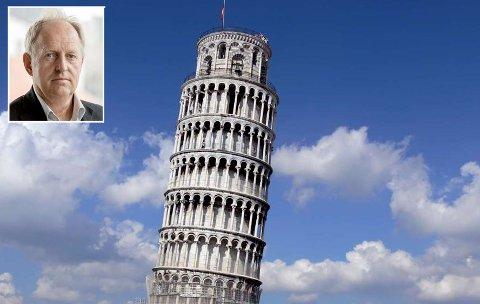SAMMENLIGNER: Olav Skinnes mener prosjekt Viken  er  et svært vaklende byggverk, og sammenligner det med det skjeve tårnet i Pica.