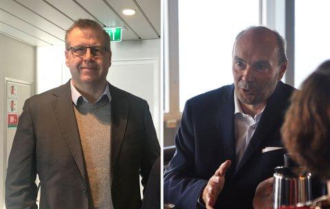 Konsernsjef i Hurtigruten, Thomas Westergaard, og direktør for Scandic Nordkapp, Hans Paul Hansen.