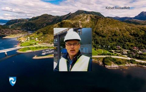 BYGGEFELT: Prosjektleiar Frank Husevåg og Bremanger kommune er klar med flott byggefelt for nybyggarar sentralt i kommunen med utsikt frå Kolset og nordvestover mot Hornelen.