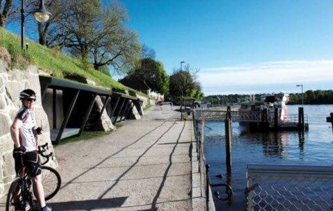 Slik kan de nye leskurene ved fergeleiet i Gamlebyen komme til å se ut. Idétegningene er utviklet av arkitektfellesskapet EX3 som består av ZIS AS ved Eirik Rønning Andersen, Handegård Arkitektur AS ved Espen Handegård og Vizstudio ved Espen Tomren.