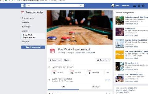 – Aksepteres ikke: Kommunen ba Quality hotel fjerne begrepet «post work» i Facebook-posten om et onsdagsarrangement.