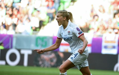 CORRECTS PHOTOGRAPHERS NAME -- Ada Hegerberg of Lyon celebrates after scoring a goal during the women's soccer UEFA Champions League final match between Olympique Lyon and FC Barcelona at the Groupama Arena in Budapest, Hungary, Saturday, May 18, 2019. (Balazs Czagany/MTI via AP)