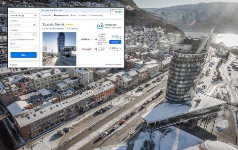 Femsifret beløp: I den innfeldte Finn-annonsen heter det at et hotellrom på Scandic Narvik koster over 10.000 kroner denne uken. Det forstår hotelldirektør Terje Theodorsen lite av.