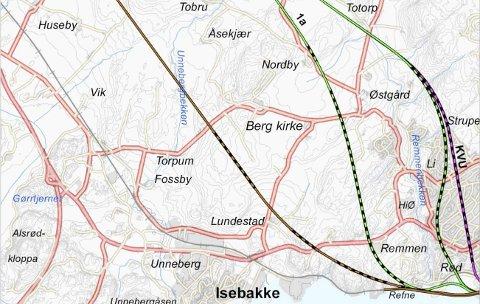 De ulike traseene inn til Halden i konseptvalgutredningen (KVU) for InterCity-strekningene. Jernbaneverket er skeptisk til innspillet med en stasjon under bakken som et tillegg til de tre alternativene, som gir store konsekvenser for en jernbane gjennom Halden sentrum.