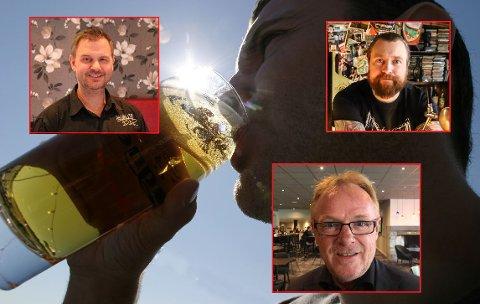 REAGERER: René Huseby, Carl-Emil Molin og Per Sandberg reagerer kraftig på at Halden ikke kan følge de nasjonale retningslinjene for skjenking av alkohol.