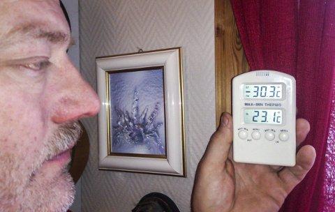 KALDT: Morten Bolstad registrerte mer enn 31 minusgrader hjemme på gården i Susendal på fredags morgen. Temperaturen steg litt utover dagen, men også susendalingene merker kulda. Foto: Privat