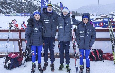 I gang med NNM: Løperne fra Mosjøen IL er i gang med NNM i langrenn i Alta.  Fra venstre William Endresen, Morten Hjørnerød, Kristoffer Grønvik og Johannes Øvereng.foto: privat