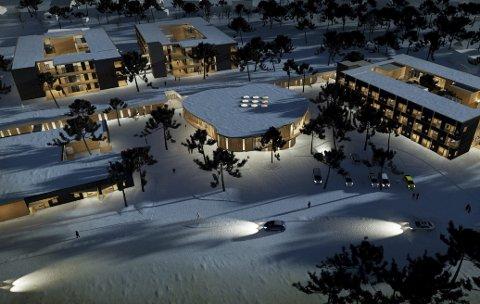 SLIK: Slik er det nye omsorgssenteret i Alta tenkt å bli. I midten er inngangen, foran til venstre er 6 heldøgnsbemannede omsorgsboliger for yngre brukere, bak til venstre er sykehjemsplassene, og til høyre er 54 heldøgnsbemannede omsorgsboliger for eldre. Illustrasjon: Stein Halvorsen Arkitekter