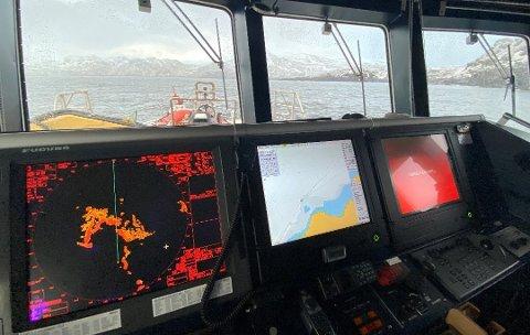 DELTOK I SØKET: Redningsskøyta «Gjert Wilhelmsen» deltok i søket i Breivikfjorden fredag kveld, sammen med flere fiskefartøy.
