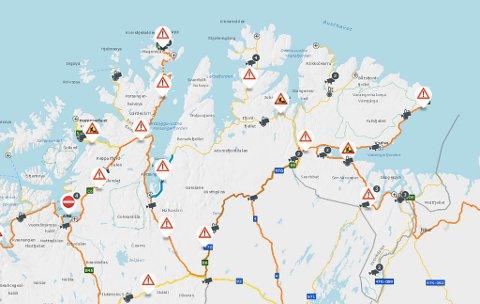 VARSELTREKANTER: Veitrafikksentralen melder om fare for glatte veier i Finnmark.