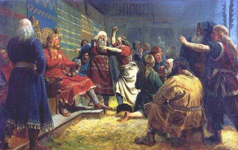 «Håkon den Gode og bøndene ved blotet på Mære», malt av Peter Nicolai Arbo (1831-1892).