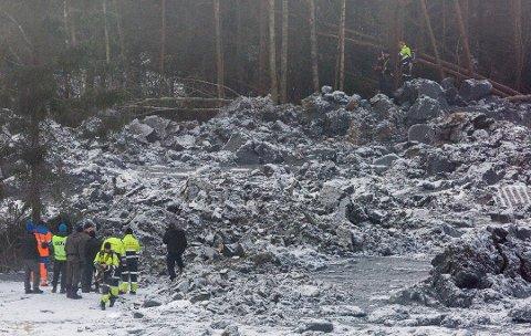 En tragedie: Tre personer omkom i leirskredet i Sørum.