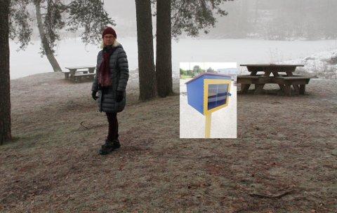 SPENT: Grete Rygh i Bassengparken vel er spent på hvordan minibiblioteket (innfelt) kommer til å fungere.