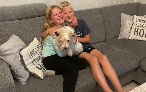 GJENSYNSGLEDE: Å få hunden Madonna hjem igjen i god behold, etter nesten to døgn på rømmen var godt for hele familien Robøle. Særlig for barna i familien var gjensynsgleden stor. Foto: Privat