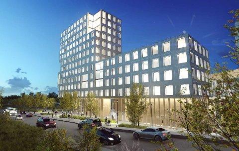 Foreløpig skisse: Dette er det foreløpige utkastet til skisse for det nye helsebygget i Lillestrøm. (Foto: Illustrasjon: Nordic Office of Architecture)