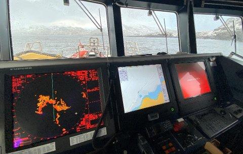 DELTOK I SØKET: Redningsskøyta «Gjert Wilhelmsen» deltok i søket i Breivikfjorden fredag kveld., sammen med flere fiskefartøy.