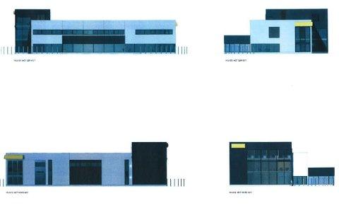 Tegninger av det planlagte forretningsbygget i Idrettsgata 6.