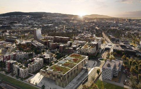 Slik kan den nye bydelen på Leangen bli. Her sett fra nord. Til høyre er Sirkus Shopping.