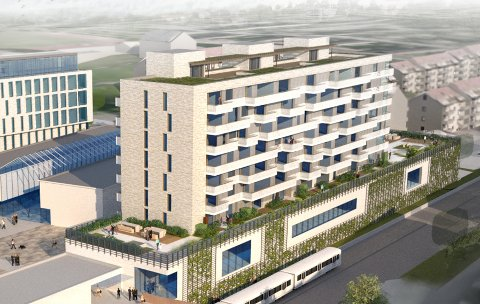 NYTT PROSJEKT: Det skal bygges seniorboliger på Lambertseter senter sør. Prosjektet har fått navnet Bølgelengden. Illustrasjon: Hille Melbye arkitekter / Obos
