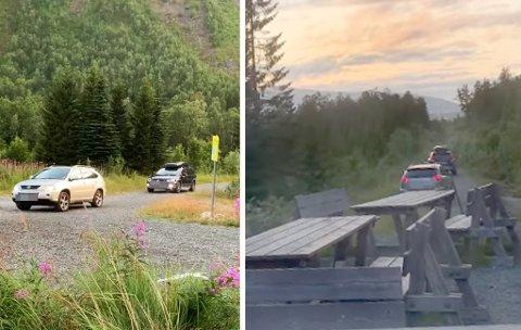 Her er bilene på ville veier langt inn i turveinettet i Tromsdalen. Her kommer de nedover etter å ha vært helt oppe ved Dalheim. Foto: Privat
