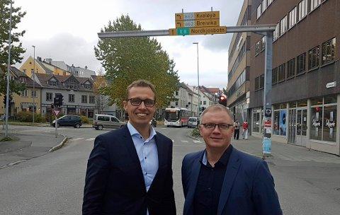 Regiondirektør for NHO Troms og Svalbard Christian Chramer og direktør i Næringsforeningen for Tromsøregionen Nils Christian Sørheim Nilsen.