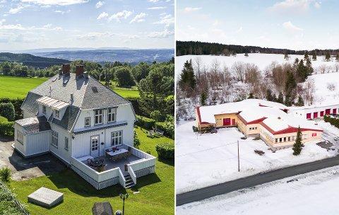 VILLA OG TRYKKERI: Begge disse eiendommene er lagt ut for salg.