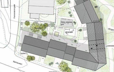 Skissene som foreligger så langt er bare foreløpige tanker. Men Clemens Eiendom AS, datterselskap av Opplysningsvesenets fond, sier på sine nettsider at de skal bygge rundt 20 leiligheter på Lilletorget.