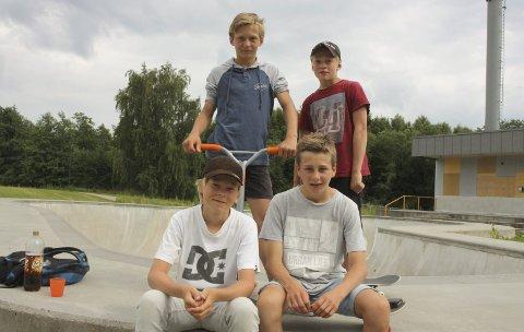 Benjamin Abrahamsen, Magnus Øigarden, Lars Løvnes og Sondre Solli fra Langangen tar jevnlig turen til skateparken for å skate og trikse på sparkesykkel. Når de først kommer, er de på plass hele dagen. Alle er meget glade i å trikse.