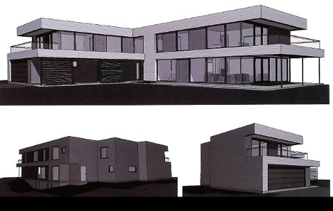 Dette er 3D-tegning av huset som har fått godkjenning.