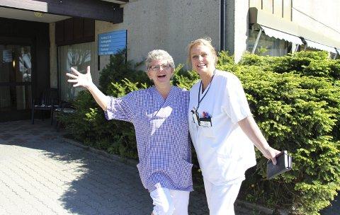 Fornøyd: Anne Melby, plasstillitsvalgt for Fagforbundet og Anita Pedersen, tillitsvalgt for Sykepleierforbundet på Skautun.