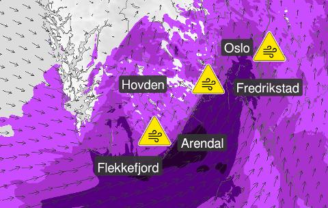 Yr melder om sterk vind tidlig i neste uke.