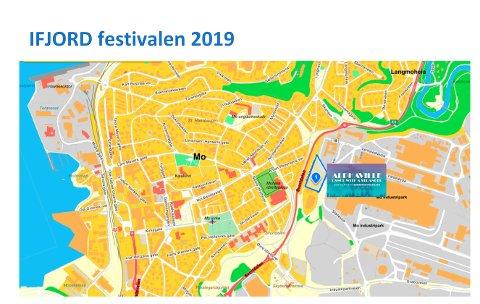 Teltplass: Søknaden til iFjordfestivalen er godkjent, og  på dette området i Blåbærveien blir sommerens festival arrangert.