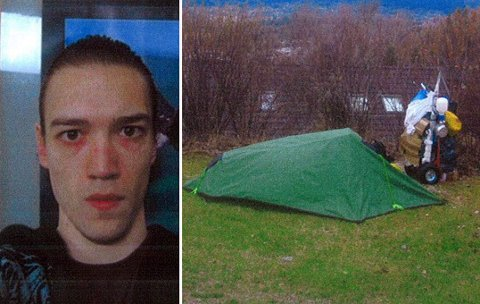 SAKEN ER LØST: Bildet av teltet og den ukjente mannen har blitt publisert i lokalavisen tidligere. Først 10 år senere ble saken om den nederlandske mannen, som aldri har hatt status som kriminalsak, oppklart.